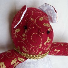 Gold Holly On Red Christmas Teddy Bear by ellemardesigns on Etsy, $12.00