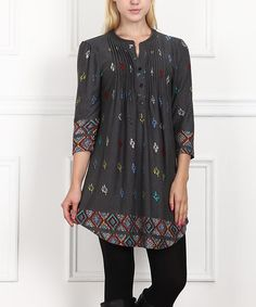 Love this Charcoal Floral Notch Neck Tunic by Reborn Collection on #zulily! #zulilyfinds