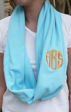 Monogrammed Infinity scarf,Turq interlock knit infinity scarf, monogram included in the price. $22.00, via Etsy.