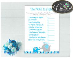 This is Baby Shower Boy T.... Go see it here http://snoopy-online.myshopify.com/products/baby-shower-boy-the-price-is-right-game-with-aqua-blue-gray-color-elephant-theme-printable-digital-files-jpg-pdf-instant-download-ebl01
