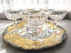 Vintage Cut Crystal Champagne Glasses Vintage by AllieEtCie