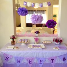 Purple baby shower. Dessert table.