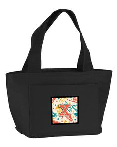 Letter X Retro Teal Orange Musical Instruments Initial Lunch Bag CJ2001-XBK-8808