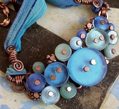 Keirsten Giles  blue green recycled glass necklace-2 001