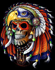 Eagle Wallpaper, Indian Skull, Skull Artwork, Tattoo Studio, Dark Art, Animal Kingdom, Rock N Roll, Skulls, Bones