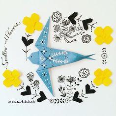 ツバメとお花 チョット早いわな。 Swallow and flowers. • • #origami #papercraft #illustration #swallow #flower #おりがみ #ペーパクラフト #イラスト #ツバメ #伝承おりがみ #お花 #たかはしなな