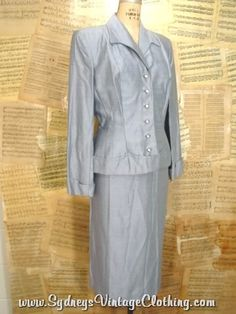 Vintage 60's Raw Silk Blue Peplum Ladies Dress Suit