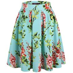 Doublju Solid Floral Printed Flare Pleated Skater Skirt (Plus size... ($19) ❤ liked on Polyvore featuring skirts, plus size skater skirt, blue skater skirt, plus size skirts, floral skater skirt and womens plus size skirts