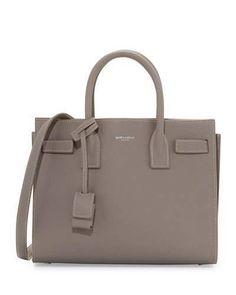 Saint Laurent Sac de Jour Topstitched Leather Satchel Bag, Gray
