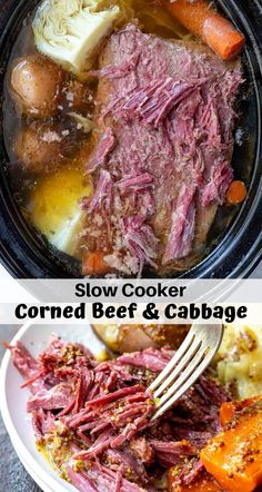 This Crockpot Corned Beef and Cabbage Recipe is great because it is easy and low effort. Just toss the ingredients in your slow cooker, set it and forget it. Saint Patrick's Day dinner will be ready and waiting for you. Corned Beef Brisket, Slow Cooker Corned Beef, Slow Cooked Meals, Crock Pot Slow Cooker, Slow Cooker Recipes, What Is Corned Beef, Cooking Corned Beef, Venison, Slow Cooker