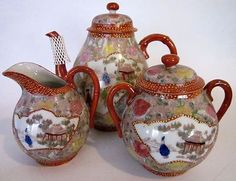 Japanese teapot, creamer and sugar