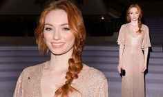 The actress, 24, dazzled in a sexy but sophisticated plunging gown, decorated with shimmering pink sequins all over, as she took her place on the FROW at Temperley LFW show. | Eleanor Tomlinson