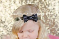Black Gold Chevron Glitter Bow Headband  by OnceUponATimeTuTus
