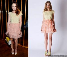 #LeightonMeester in yellow and peach dress from #MarcJacobs Resort 2011 Collection.