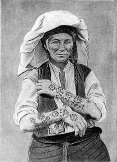 Tattooed wife from Lašvanske Valley, Bosnia. Photo Credit: Traditional Croatian Tattoo