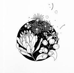 Line Art Flowers, Flower Line Drawings, Flower Art, Native Drawings, Cool Drawings, Australian Native Flowers, Floral Drawing, Love Illustration, Screenprinting