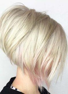 Angled Bob Haircuts, Stacked Bob Hairstyles, Bob Hairstyles For Fine Hair, Short Hairstyles For Women, Cool Hairstyles, Blonde Hairstyles, Conrows Hairstyles, Short Stacked Haircuts, Short Bobs