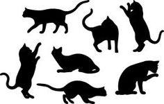 Set Katze-Schattenbilder Stockfotos