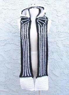 Jack Skellington Themed Hooded Scarf Handmade by pinkavenger