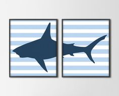 Striped Shark Set of 2 Art Prints - Nautical Nursery Beach Bedroom Decor - Shark Stripes - Blue and Navy - other colors and sizes available  ~LIAMS ROOM