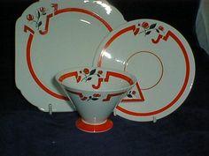 STUNNING SHELLEY VOGUE TRIO RED J DESIGN in Pottery, Porcelain & Glass, Porcelain/ China, Shelley | eBay