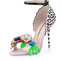 Sophia Webster Lilico Floral Jungle Sandal featuring polyvore, fashion, shoes, sandals, обувь, leopard print sandals, ankle wrap sandals, high heels stilettos, strappy sandals and embellished sandals