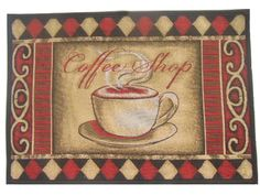 coffee themed kitchen rugs - would match my theme perfectly! Cafe Kitchen Decor, Coffee Theme Kitchen, Kitchen Themes, Kitchen Rug, Farmhouse Kitchen Decor, New Kitchen, Kitchen Ideas, Kitchen Decorations, Kitchen Window Treatments