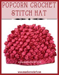 Ravelry: Popcorn crochet stitch hat pattern by Soledad Z Crochet Adult Hat, Crochet Kids Hats, Crochet Beanie, Crochet Yarn, Crochet Clothes, Crochet Stitches, Knitted Hats, Crochet Patterns, Crochet Ideas