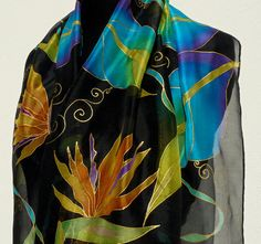 Bright flowers black silk scarf Hand Painted Chiffon orange blue green turquoise gold Long silk handpainted wrap Birds of paradise tropical