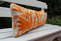 Orange  Otomi Sham backed and piped with handwoven by CasaOtomi