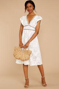 Cutest white bridal shower dress   Days Gone By White Lace Midi Dress  #affiliate #whitedress #lacedress #bride #bridetobe Best Maxi Dresses, Striped Maxi Dresses, Dresses For Sale, Dress Sale, Unique Dresses, Shop Red Dress, Dress Red, Lace Midi Dress, Event Dresses