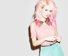 blonde and pink hair with preppy outfit