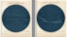 1903 starry sky maps of the northern and southern views original antique celestial prints