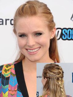Multiple Braids: We're dying for Kristen Bell's unique half-up 'do. There are four braids happening here: One main French braid that starts at the crown, plus three sneaky side braids that crisscross over the top.