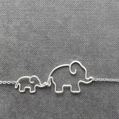 Mother and Baby Elephants Necklace - Gift for Mom, Elephant Jewelry, Silver Wire Necklace - 'Elephants'