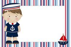 Convites do tema Marinheiro para imprimir - Dicas pra Mamãe Leo Birthday, Happy Birthday Jesus, Sailor Theme, School Frame, Oh My Fiesta, Baby Frame, Nautical Party, Nautical Cake, Nautical Design