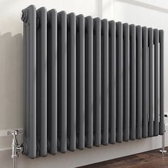 Traditional Cast Iron Style Horizontal Radiator Anthracite 3 Column 600 x 825 mm Home Living Room, Front Room, Radiators Modern, Home, Radiators Living Room, Open Plan Kitchen Living Room, House Interior, Front Rooms, Hallway Designs