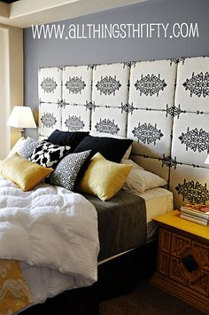 cool idea for headboard wall Gray and Yellow Master Bedroom eclectic bedroom Yellow Master Bedroom, Master Bedroom Design, Gray Bedroom, Bedroom Designs, Bedroom Colors, Diy Fabric Headboard, Headboard Ideas, Diy Headboards, White Headboard