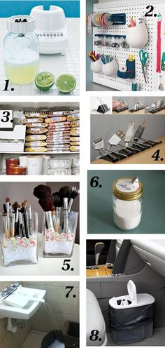 check out 7, dust pan to divert water into a bucket that can't fit into sink... 8 is a plastic cereal container as a car trash can, 4 are clips to organize computer cords, and 6 is a mason jar sugar dispenser with a salt lid in the center. Why didn't I think of these!