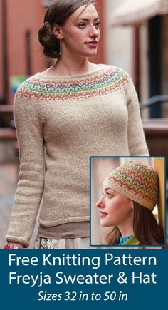 """Free Sweater Set Knitting Patterns Freyja Sweater and Hat Matching pullover and hat knit with a stranded fair isle design. Sweater sizes 32, 34, 36, 38, 40, 42, 44, 46, 48, 50"""" chest. Designed by Courtney Kelley. Sport weight yarn."""