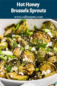 Hot Honey Brussels Sprouts Recipe is perfectly crispy on the outside, tender and soft on the inside, and coated in a lusciously sweet and spicy glaze. #honey #Brusselssprouts #vegetables #roasted #spicy #hot #recipe #callmepmc Best Vegetable Recipes, Homemade Vegetable Soups, Side Dish Recipes, Healthy Dinner Recipes, Best Side Dishes, Main Dishes, Vegetable Casserole, Sprouts Recipe, Vegetable Side Dishes