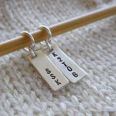 Personalized Knitting Stitch Markers Hand Stamped by jessiemccann