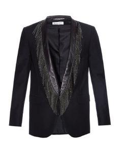 Embellished fringe leather-lapel blazer | Saint Laurent | MATCHESFASHION.COM UK