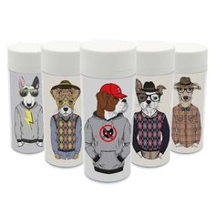 Clear Personalized Wide Mouth Modern Drinkware BPA Free Plastic Insulated Fashion Abstract Animals Dog Water Bottles 300ml Gifts