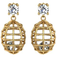 Lidy Peters & Sparkles Diamond Gold Earrings ($9,950) ❤ liked on Polyvore featuring jewelry, earrings, accessories, multiple, diamond jewelry, caged jewelry, gold earrings, diamond earring jewelry and gold diamond jewelry