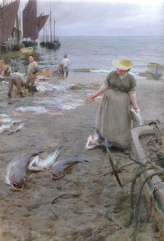 """""""Fish Market in St. Ives""""  - Anders Zorn (Swedish, 1860-1920) 1888 Watercolor on…"""