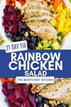 If you want a simple and healthy salad for a lunch idea try this 21 Day Fix Rainbow Chicken Salad recipe. Loaded with vegetables, chicken breast, and blueberries and avocado then you're love this! I have also included the Ultimate Portion Fix container counts. #chickensalad #21dayfixrecipes