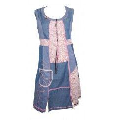 Robe C fait pour vous mélange jean et coton liberty rose yokaso.fr