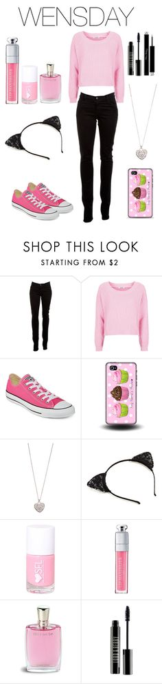 """WENSDAY"" by gabriellademartino ❤ liked on Polyvore featuring J Brand, Topshop, Converse, Accessorize, Christian Dior, Lancôme and Lord & Berry"