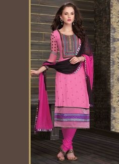 Pink Embroidered Straight Suit